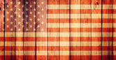 Wooden grunge background with USA flag