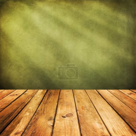 Photo for Wooden deck floor over green grunge background. Ready for product display montage - Royalty Free Image