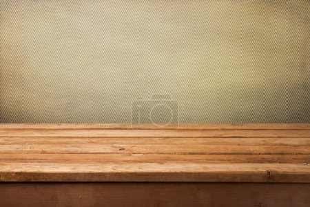 Vintage background with empty wooden table