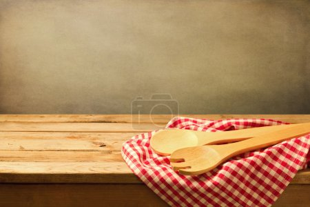 Photo for Baking and cooking background with wooden table and tablecloth - Royalty Free Image