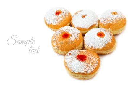 Photo pour Donut pour les vacances juives Hanoukka isolé sur fond blanc - image libre de droit