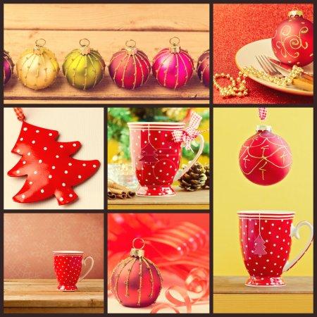 Photo pour Collage de décorations de Noël - tasse et ornements - image libre de droit