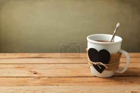 Cup of tea with heart shape