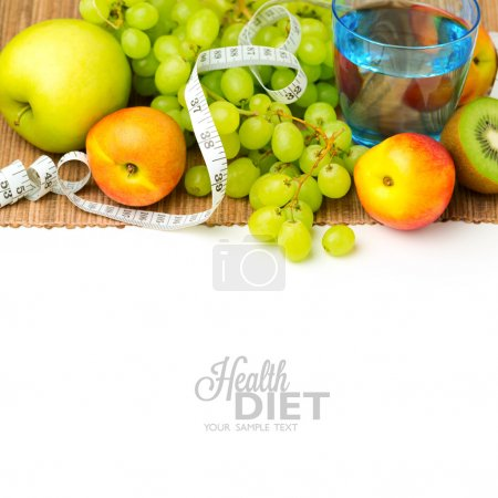 Photo for Diet concept. Water and fruits over white background - Royalty Free Image