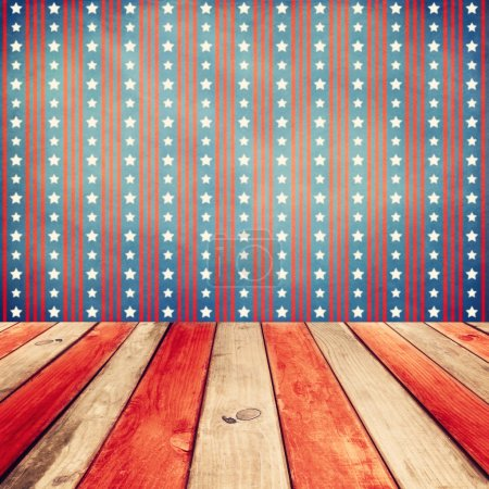 Wooden table over USA flag