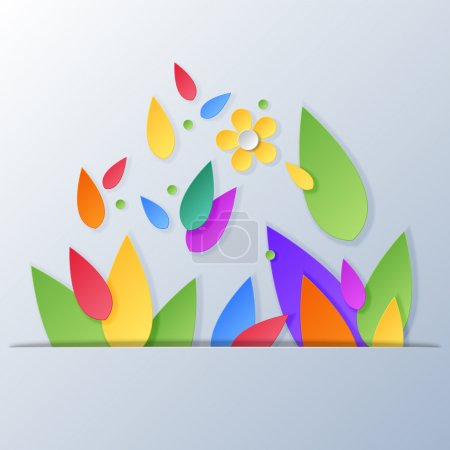 Illustration for Floral background with paper leaves and flowers. Vector illustration. - Royalty Free Image