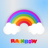 Paper rainbow with clouds.