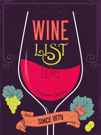 Illustration pour Carte des vins design de menu coloré. Illustration vectorielle - image libre de droit