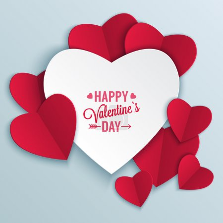 Illustration for Valentine's day abstract background with cut paper heart. Vector illustration - Royalty Free Image