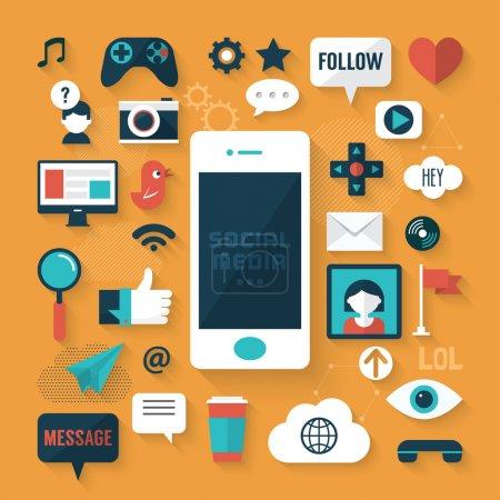 Illustration for Flat design modern vector illustration concept of social media icons - Royalty Free Image