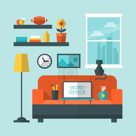 Illustration for Flat design vector illustration of modern home office interior with sofa and laptop - Royalty Free Image