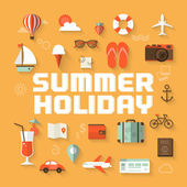Summer holiday flat icons with lettering