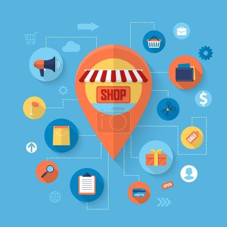 Illustration pour Achats en ligne et concept de marketing d'affaires avec design d'icônes plates. Illustration vectorielle - image libre de droit