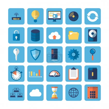 Flat icons of big data analytics.