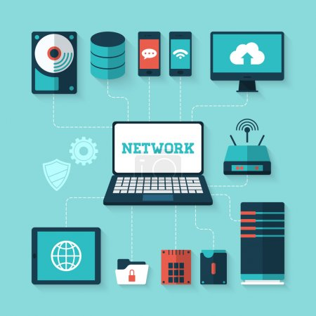 Illustration for Flat vector illustration of computer network concept - Royalty Free Image