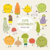 Cute vector set of vegetables
