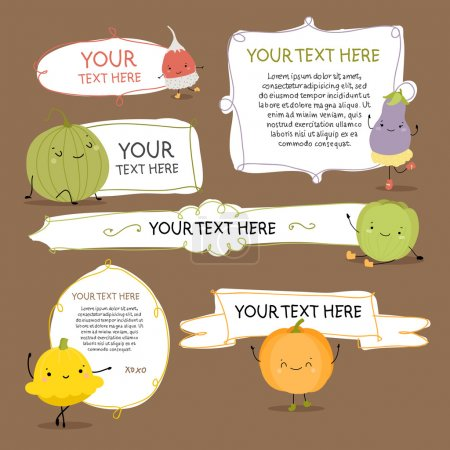 Ilustración de Doodle lindo etiquetas con verduras - Imagen libre de derechos