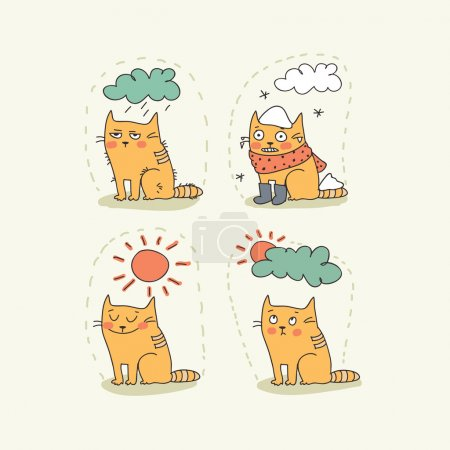 Illustration for Doodle weather icon set with a cat - Royalty Free Image