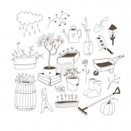 Illustration pour Outils de jardinage - image libre de droit