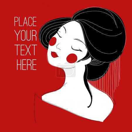 Illustration for Illustration of a Japanese girl with place for your text - Royalty Free Image