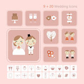 Cute vector set of wedding love and sweets