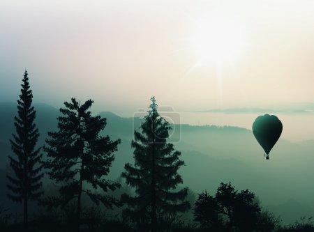 Hot air balloon flies over the mountains