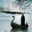 Silhouette of a girl in a boat on the river with f...