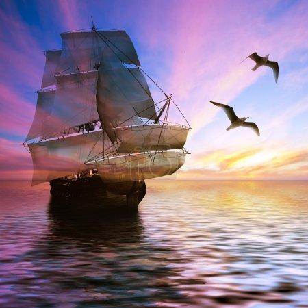 Photo pour Voilier contre beau paysage dans des tons violets - image libre de droit