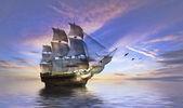 Постер Корабль на море