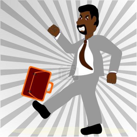 Hysterical man kicks his briefcase