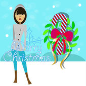 Christmas card with woman in winter suit behind these mountains with snow and a crown of mistletoe
