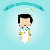 Boy doing first communion