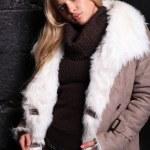 Beautiful blond woman in a fur near bricks wall...