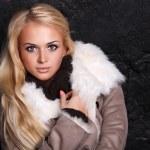 Portrait of Beautiful blond woman in a fur near br...