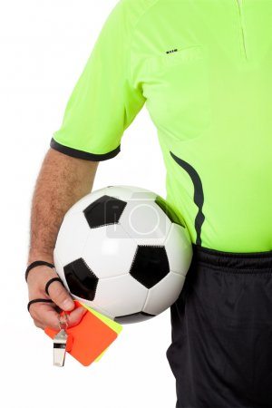 Referee with Whistle Cards and Ball