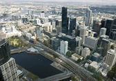 Beautiful cityscape of Melbourne, Australia. Aerial view from sk