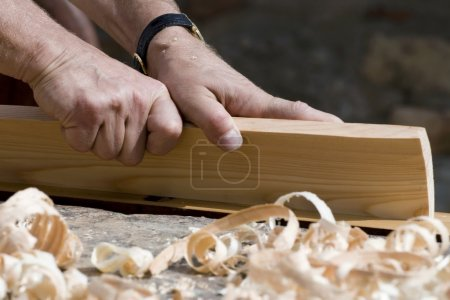 Hands of carpenter