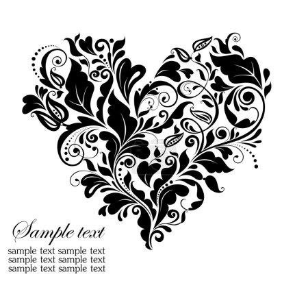Illustration for Floral black vintage floral heart - Royalty Free Image