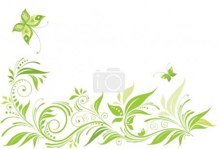 Illustration pour Vert, floral, fond - image libre de droit