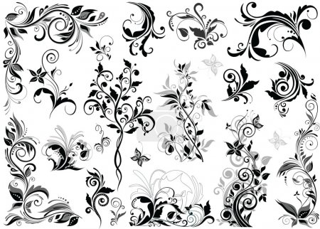 Illustration for Vintage floral design elements - Royalty Free Image