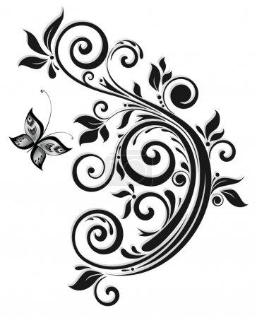 Illustration pour Design floral noir - image libre de droit