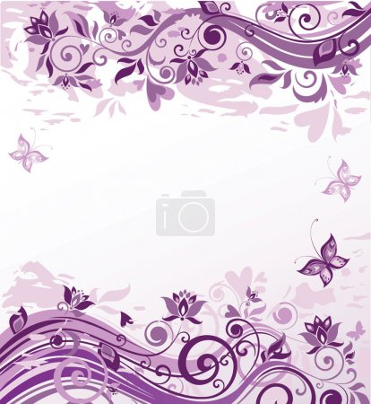 Illustration for Vintage violet floral background - Royalty Free Image