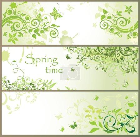 Illustration pour Bannières horizontales florales vertes - image libre de droit