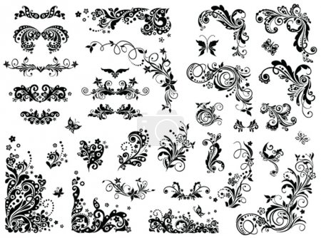 Black and white vintage design elements