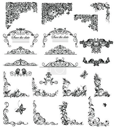 Illustration pour Ensemble de légendes florales vintage (noir et blanc ) - image libre de droit