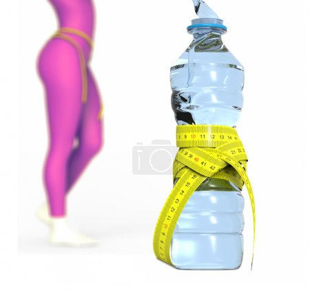 Water bottle and woman