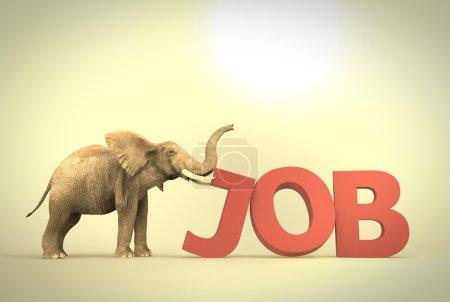Elephant pushing text job