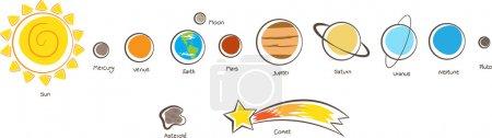 Illustration pour Illustration vectorielle des planètes du système solaire. Eps10 - image libre de droit