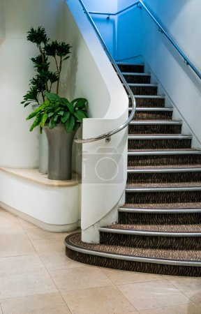 Photo for Clean and Bright Corridor with Staircase - Royalty Free Image