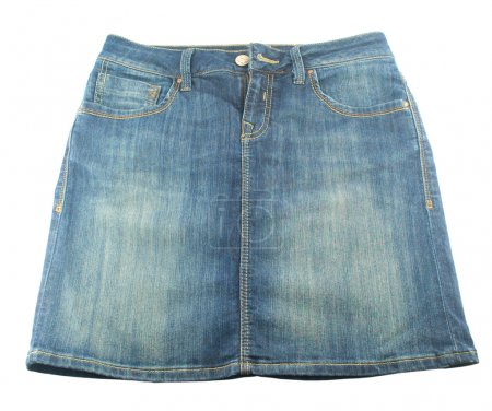 A jean skirt is on